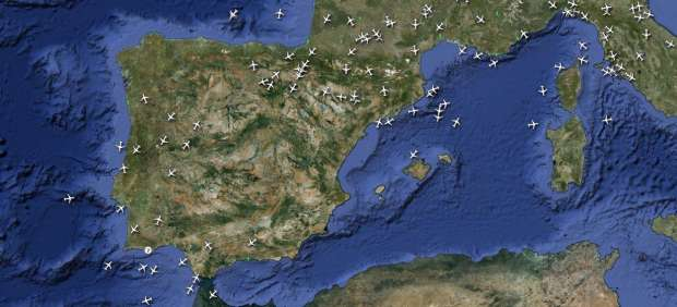 Tráfico aéreo en España (RADAR VIRTUEL)