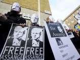 Minifestación a favor de Julian Assange