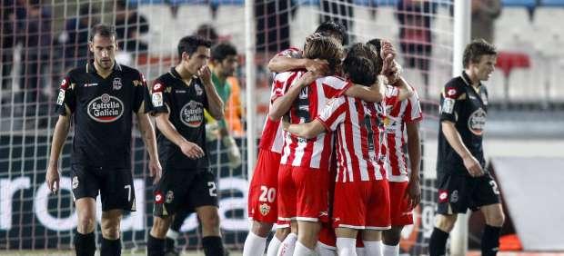 Los jugadores del Almería