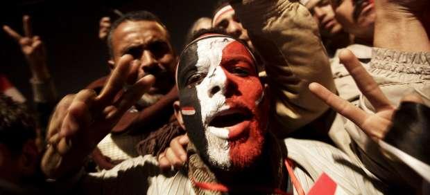 Celebrando la marcha de Mubarak