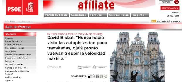 Bisbal se 'cuela' en la web del PSOE para explicar las medidas sobre la velocidad máxima
