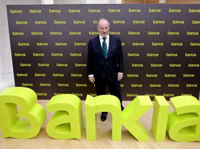 Rodrigo Rato en la presentaci�n de Bankia