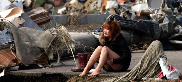 Una mujer llora en Miyagi