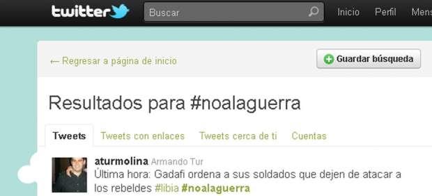 #Noalaguerra: Twitter condena la intervención militar española en la misión aliada contra Gadafi