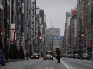 Un hombre en Ginza, el barrio comercial de Tokio