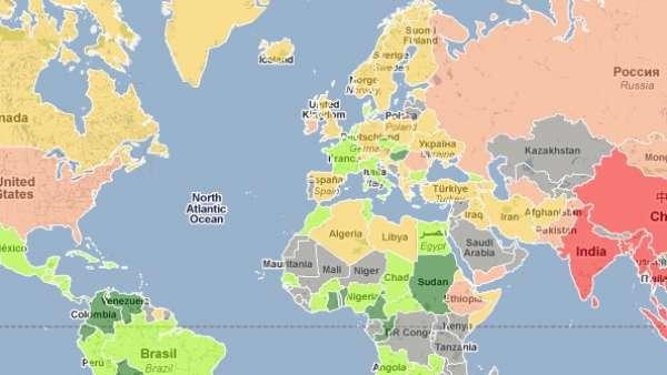 El mapamundi de los tamaños de penes