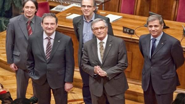 Los cinco candidatos a la alcaldía de Barcelona.