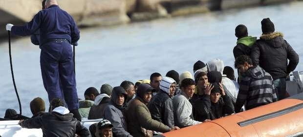Inmigrantes en Lampedusa