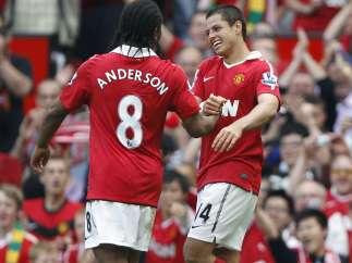 Chicharito Hernández y Anderson, del Manchester United