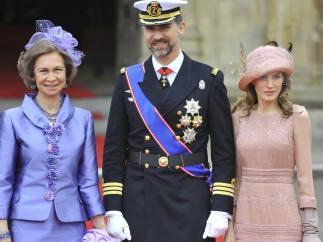 La reina Sofía, el príncipe Felipe y la princesa Letizia