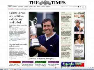 Portada The Times de Severiano Ballesteros