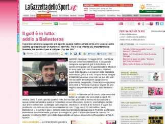 Noticia de la Gazzetta dello Sport sobre el fallecimiento de Ballesteros