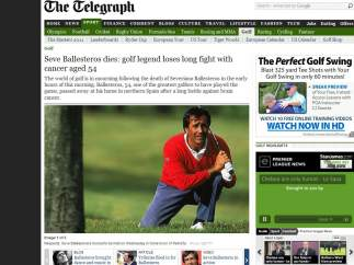 Noticia de The Telegraph sobre el fallecimiento de Ballesteros