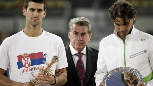 Novak Djokovic, Rafa Nadal y Manolo Santana