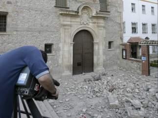 Derrumbe del campanario en Lorca