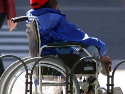 En silla de ruedas