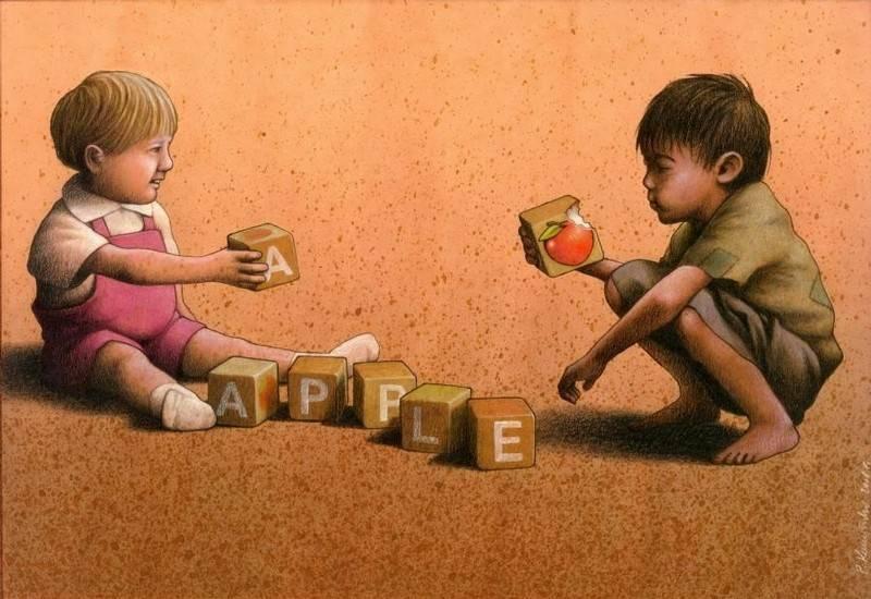 'Apple'. Pawel Kuczynski retrata con acuarelas, lápices de colores y papel los aspectos más oscuros de la sociedad