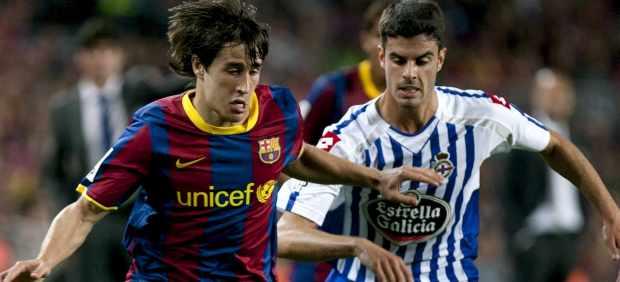 Bojan y Juan Domínguez en el Barça - Deportivo