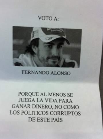 Ejemplos de voto nulo. Fernando Alonso también ha entrado en las urnas.