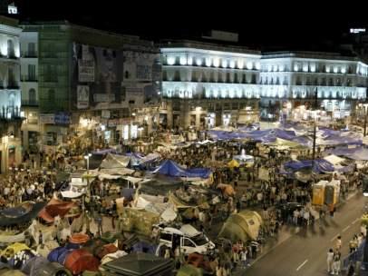 Acampados en la Puerta del Sol