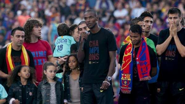 Abidal en la celebración del Barça
