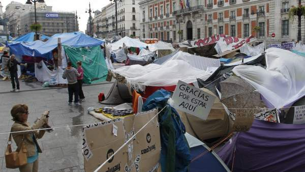 El campamento del 15M en Madrid