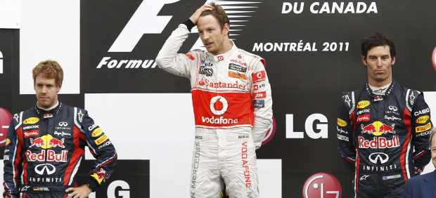 Podio de Canadá con Button, Vettel y Webber