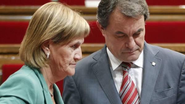 Artur Mas y la presidenta del Parlament, Núria de Gispert