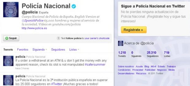 La Policía Nacional supera los 25.000 seguidores en Twitter