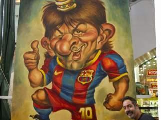 Caricatura gigante de Leo Messi