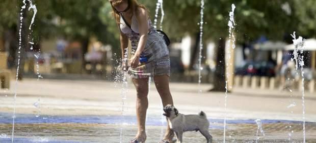Una mujer pasea a su perro por una fuente