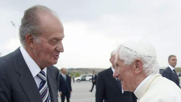 El papa, junto al rey Juan Carlos