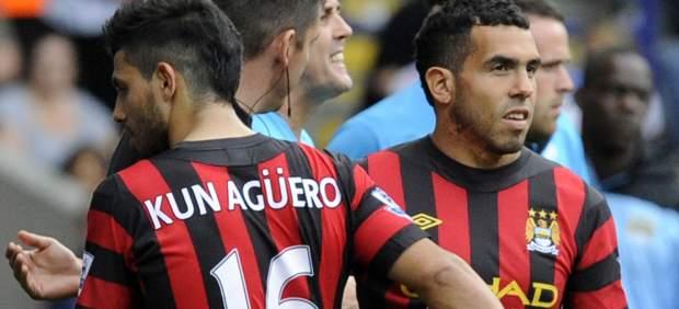 Kun Agüero y Carlos Tévez con el Manchester City