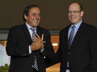Michel Platini y el príncipe Alberto de Mónaco