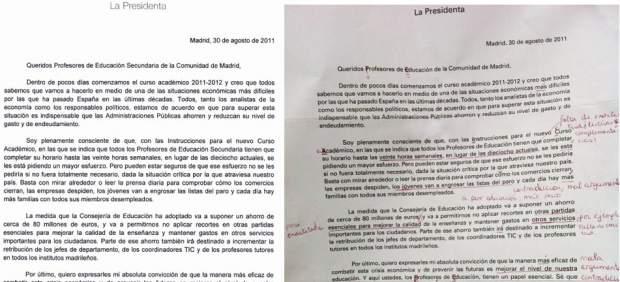 Carta de Esperanza Aguirre a los profesores