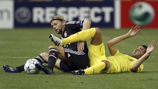 El Villarreal, en el partido ante el Bayern