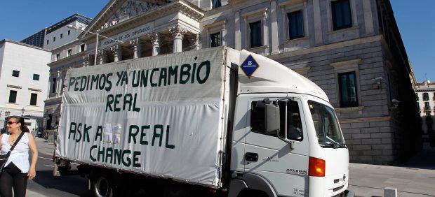 Camión protesta