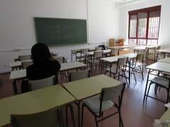Una clase prácticamente vacía en un instituto madrileño durante la huelga de profesores.