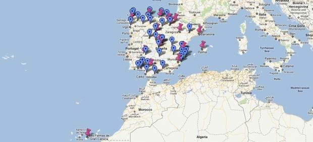 Mapa de los recortes en España
