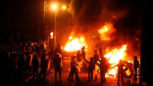 Disturbios en una manifestación de coptos