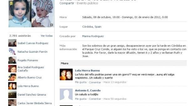 Página en Facebook de los niños desaparecidos
