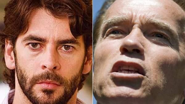 Eduardo Noriega y Arnold Schwarzenegger