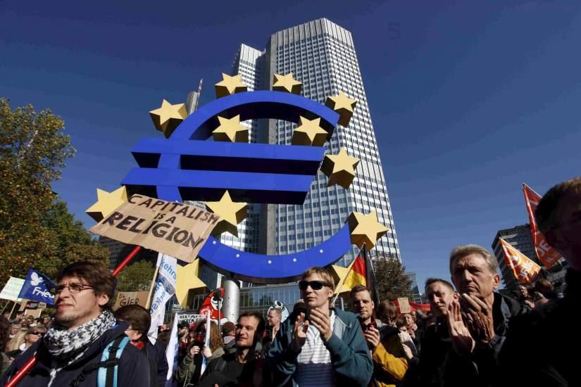 Fránkfort protesta frente al BCE