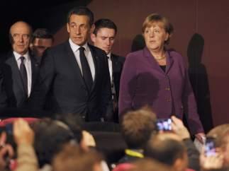 Nicolas Sarkozy y Angela Merkel