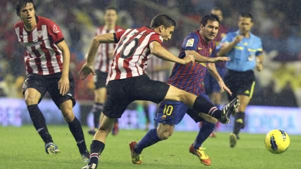 Messi y De Marcos en el Athletic - Barça