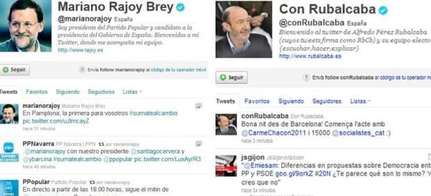 Facebook y Twitter: Rubalcaba y Rajoy apenas han escrito y las han usado como altavoz