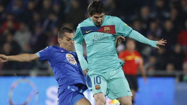 Casquero y Messi en el Getafe - Barça