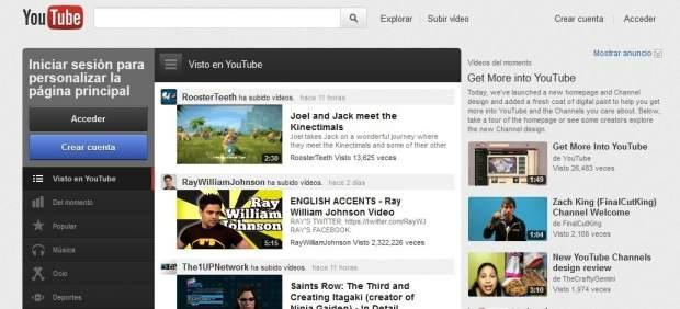 Nuevo redise�o de Youtube