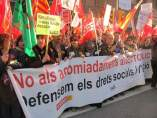 Protesta sindical en Barcelona.