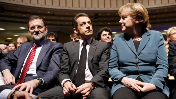 Rajoy, Sarkozy y Merkel